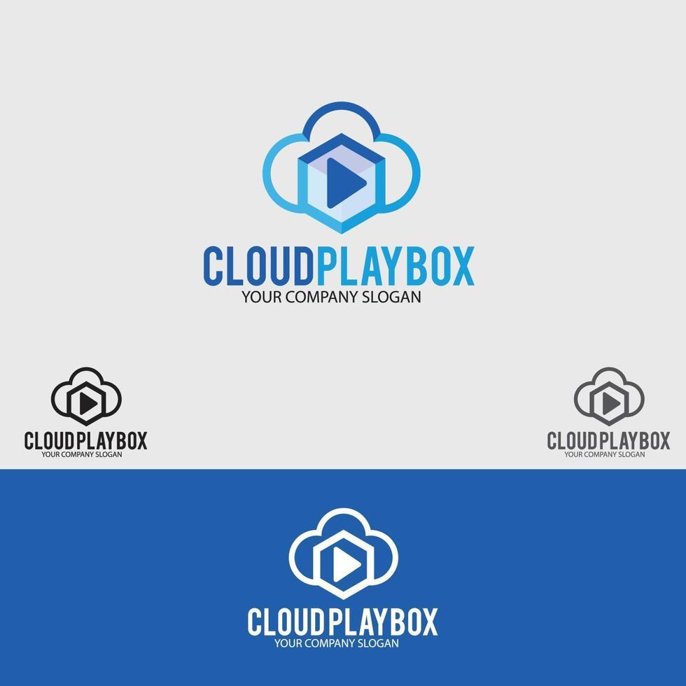 plantilla de vector de diseño de logotipo de caja de juego en la nube