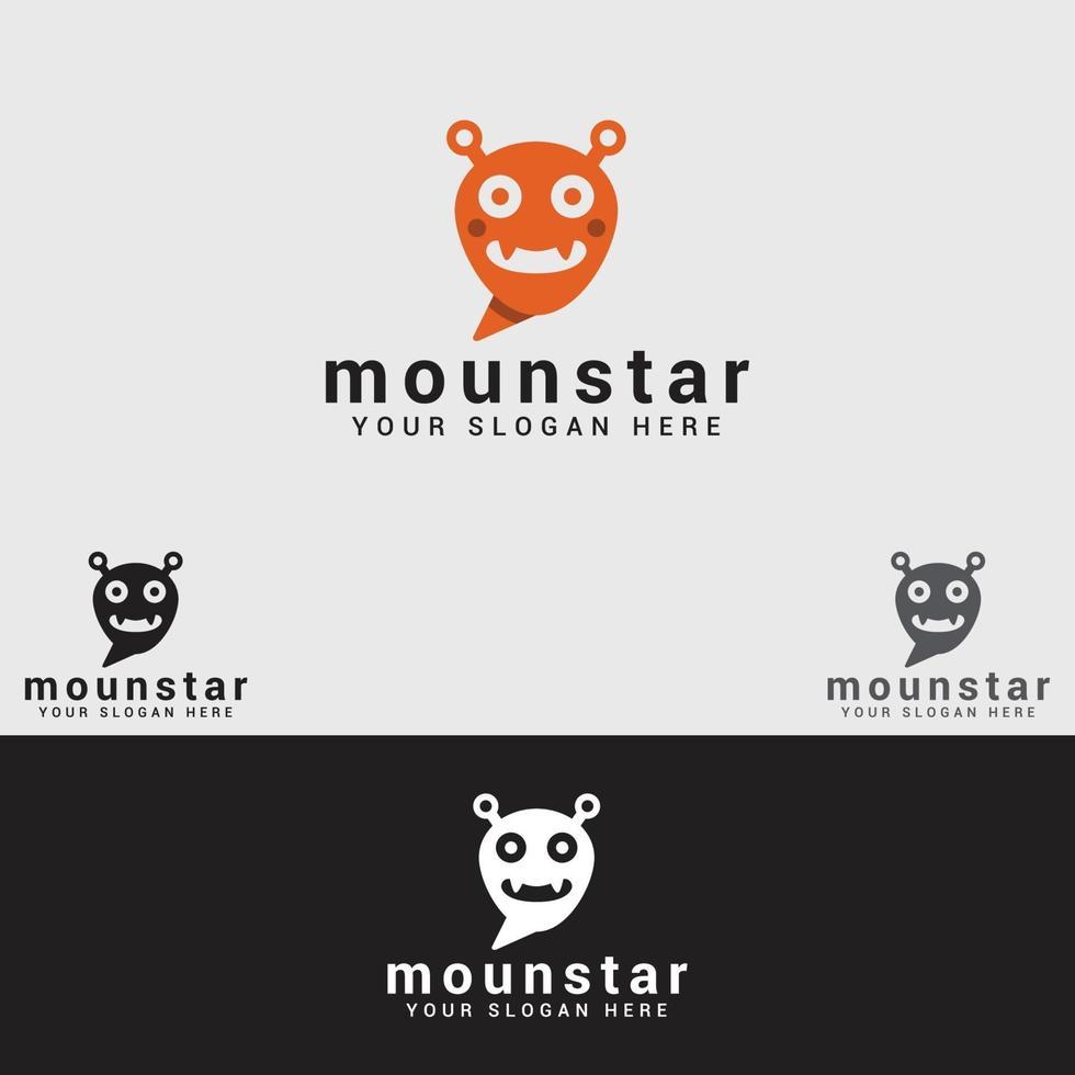 plantilla de vector de diseño de logotipo de monstruo
