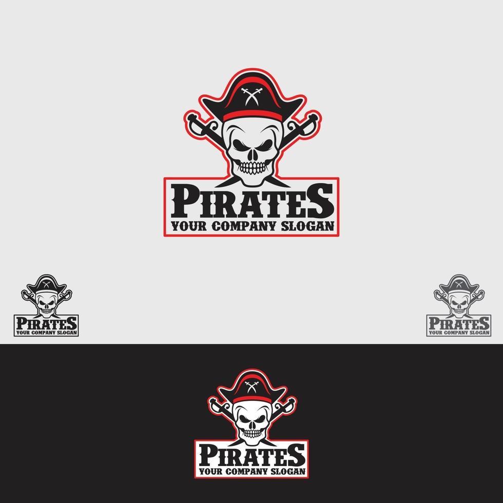plantilla de vector de diseño de logotipo de piratas