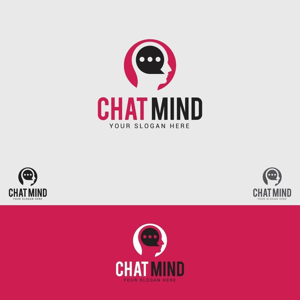 plantilla de vector de diseño de logotipo de chat-mente
