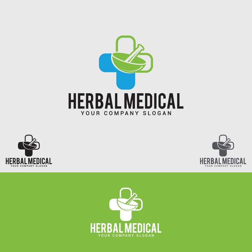 plantilla de diseño de logotipo médico a base de hierbas vector