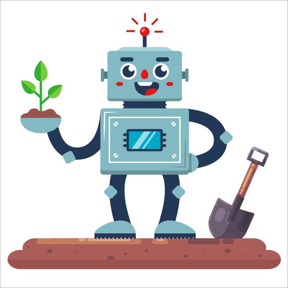 jardinero robot con una pala y una planta en la mano. Ilustración de vector de personaje plano.