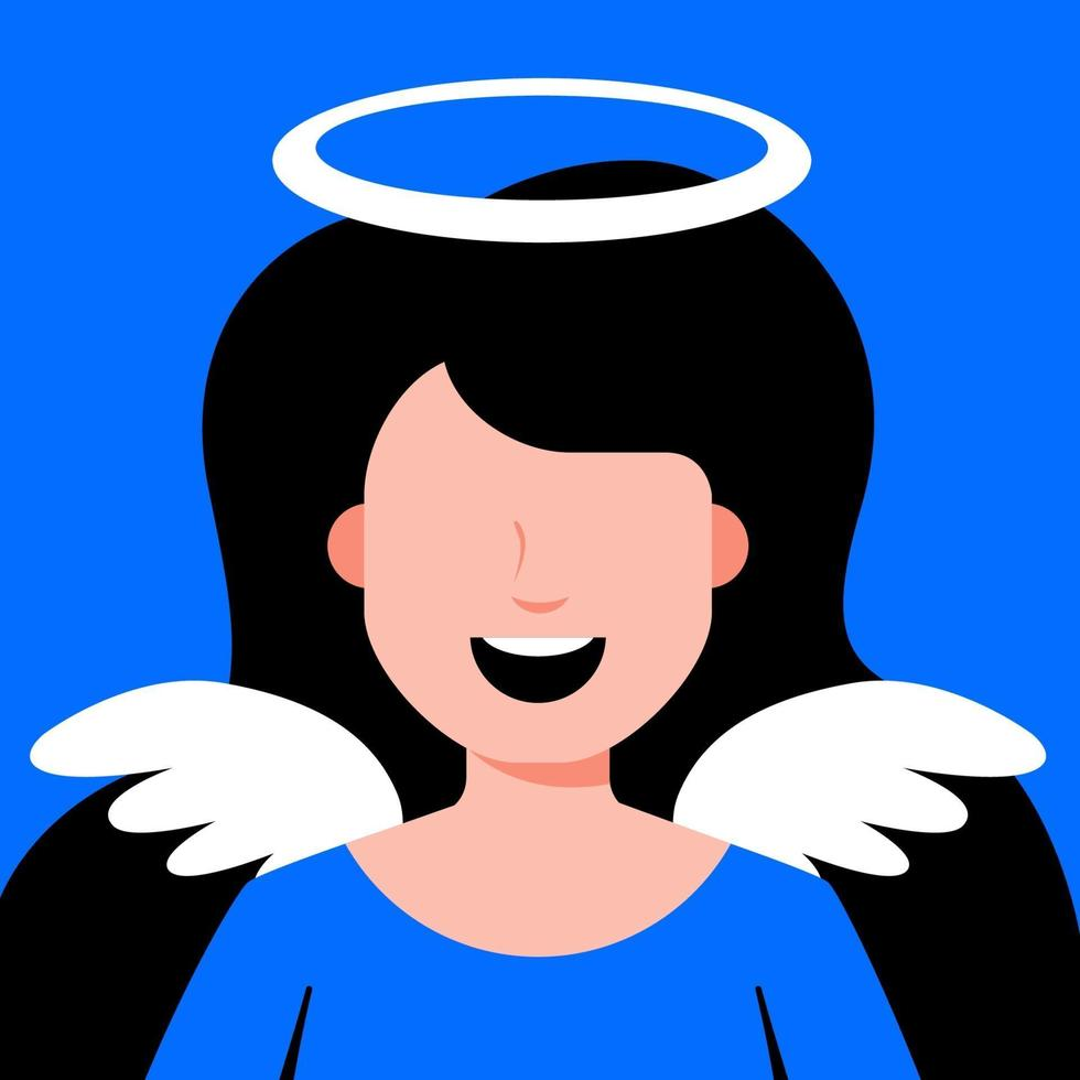 niña ángel con alas. cosplay de traje religioso. Ilustración de vector de personaje plano.