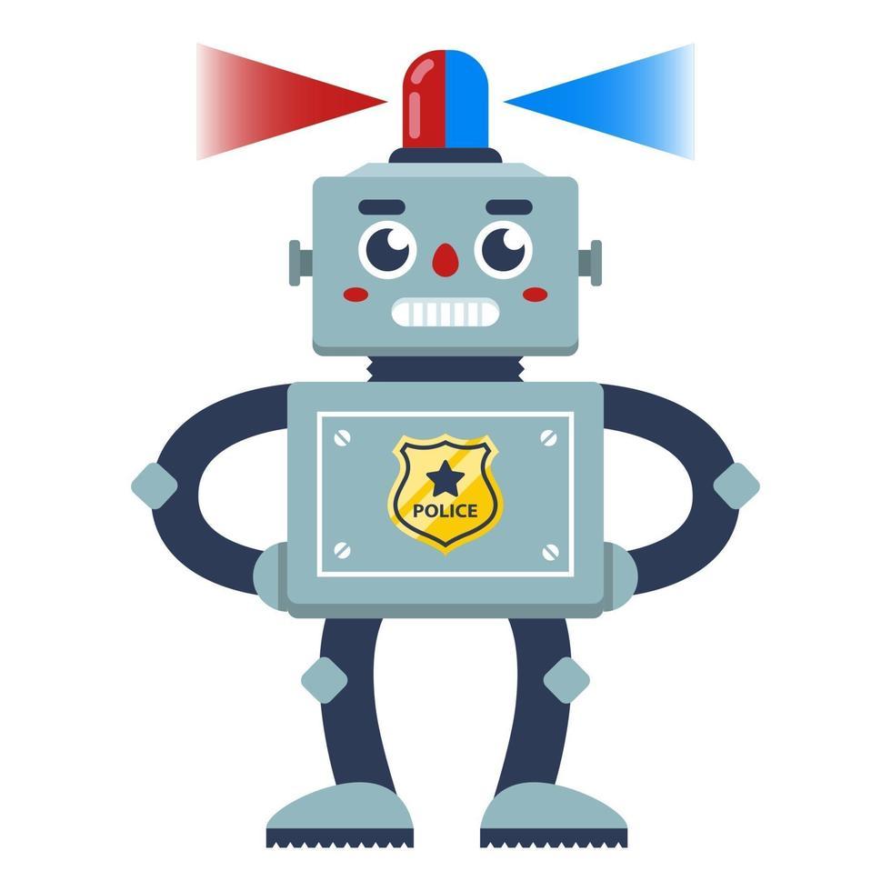 un robot policía con una luz intermitente en la cabeza patrullando el área. Ilustración de vector de personaje plano
