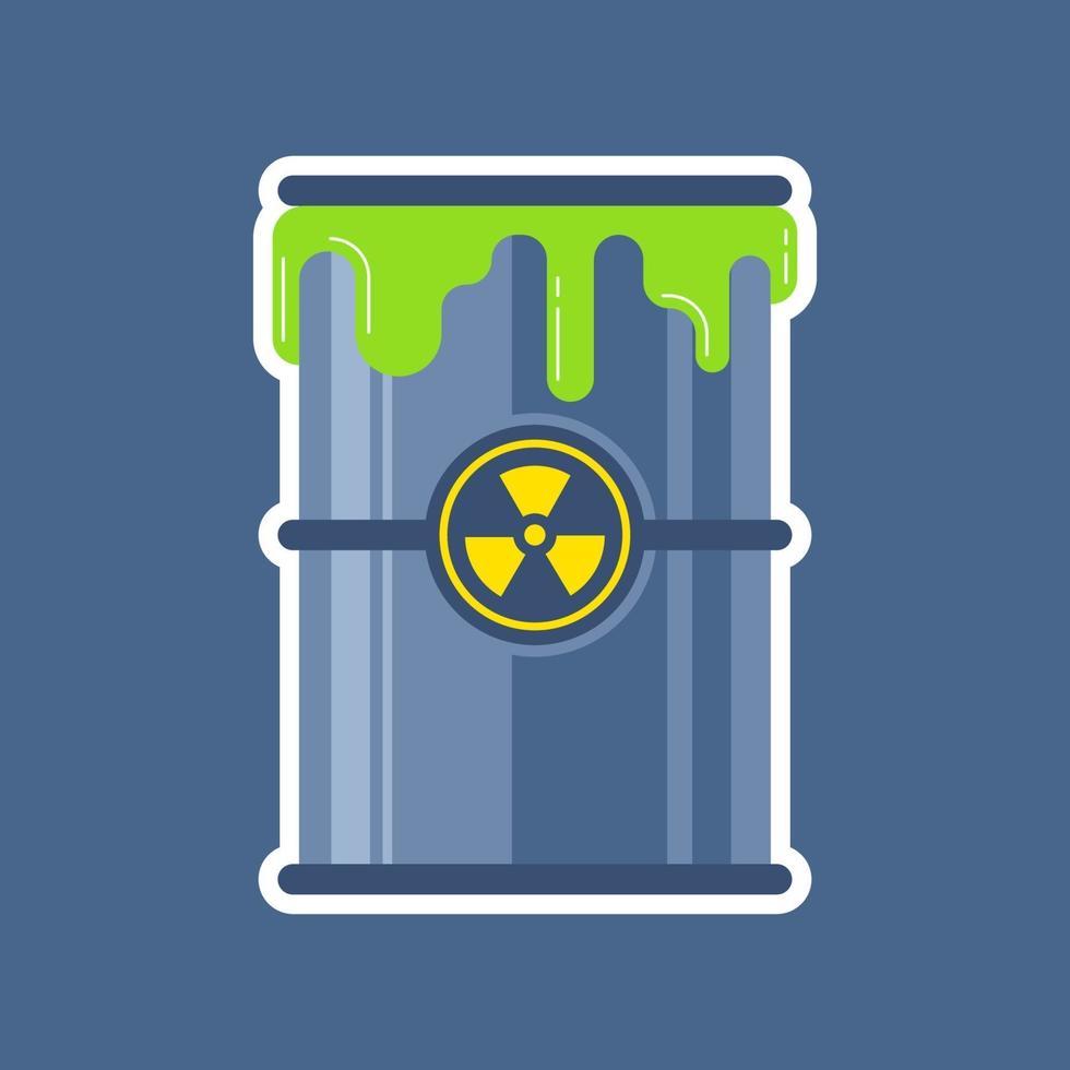 exudado radiactivo de un barril de desechos nucleares. ilustración vectorial plana. vector
