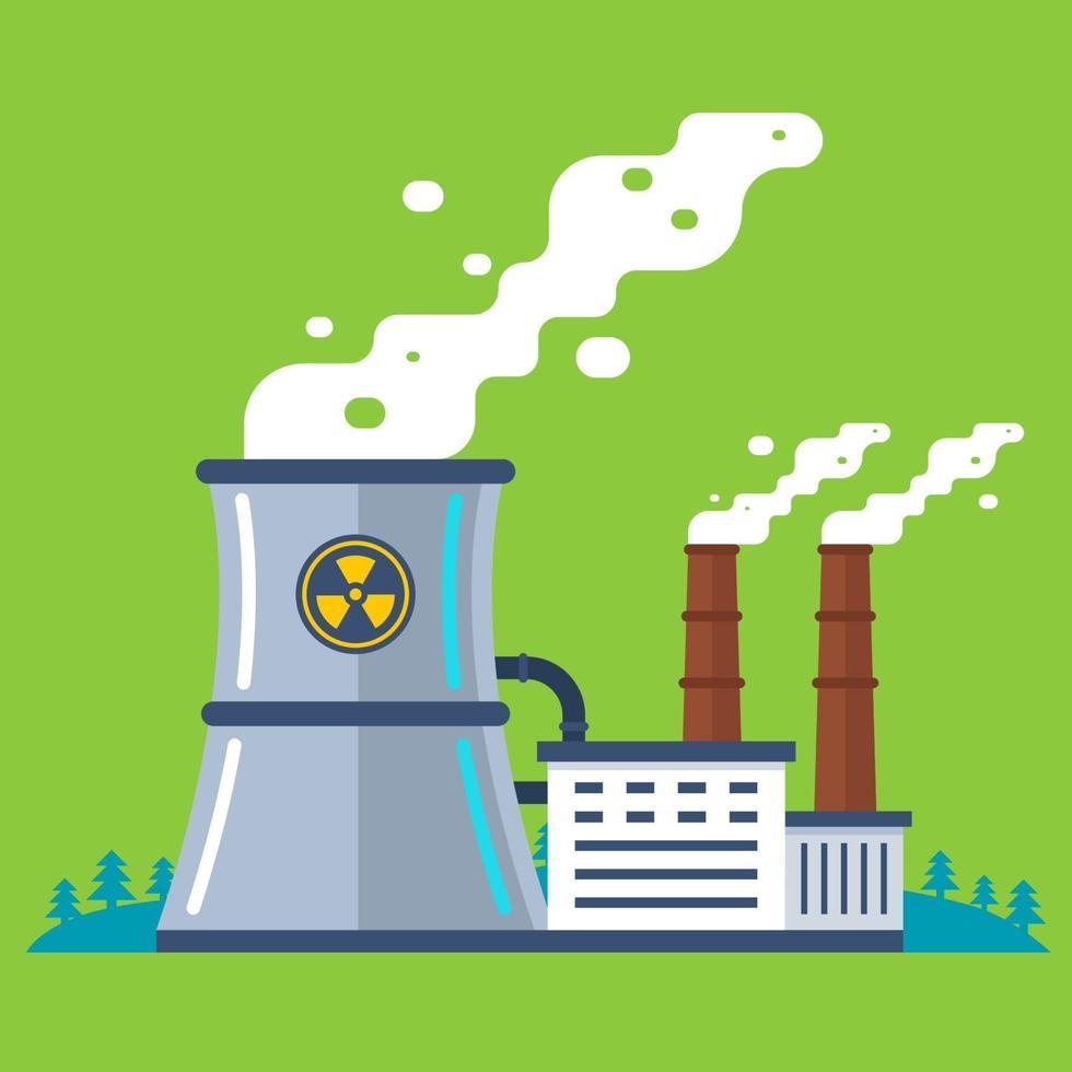 Planta radiactiva con tubería. producción de energía barata. ilustración vectorial plana. vector