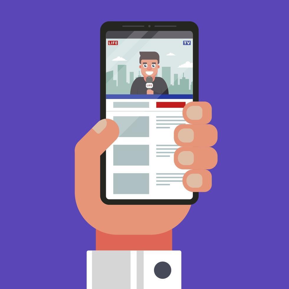 vea las noticias en video en un teléfono móvil. noticias de alojamiento de videos. ilustración vectorial plana vector
