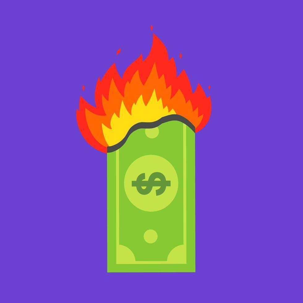 Billete de un dólar verde quema. crisis financiera. ilustración vectorial plana. vector