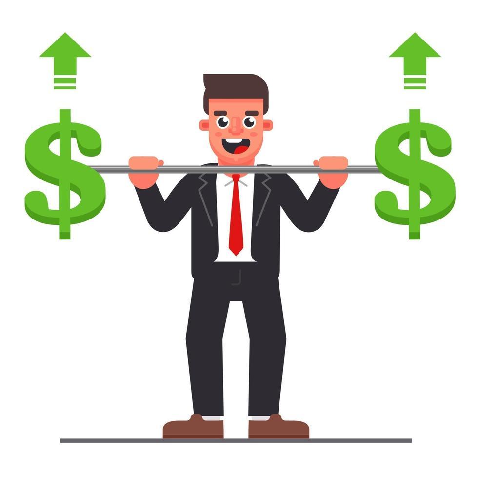 gerente con una barra con un símbolo de dólar. aumento de los beneficios de la empresa. Ilustración de vector de personaje plano.