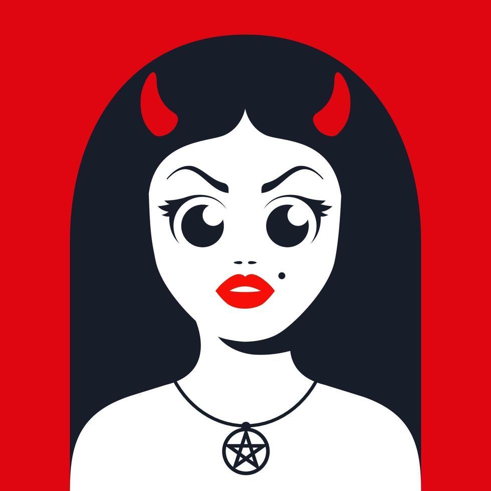 diablo femenino con cuernos con decoración de estrella satánica en el cuello. Ilustración de vector de personaje plano.