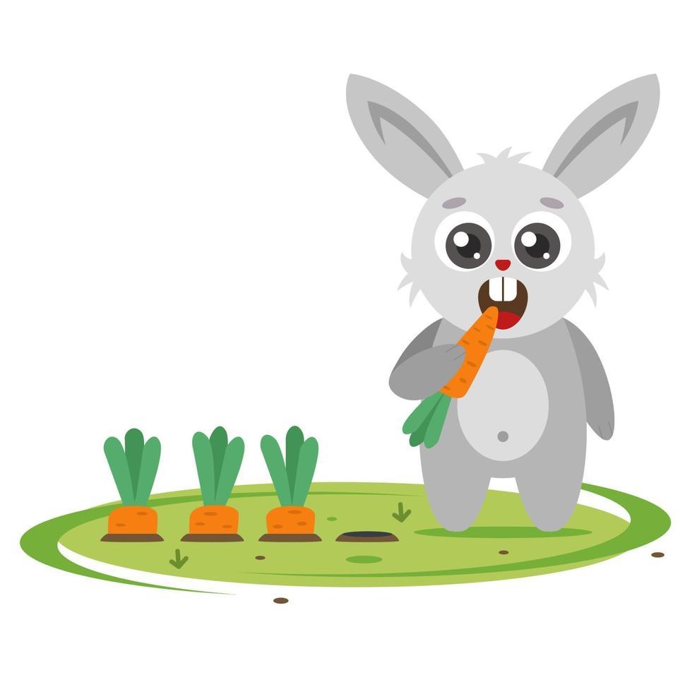 El conejito gris envía zanahorias en el jardín. plaga agrícola. Ilustración de vector de personaje plano.