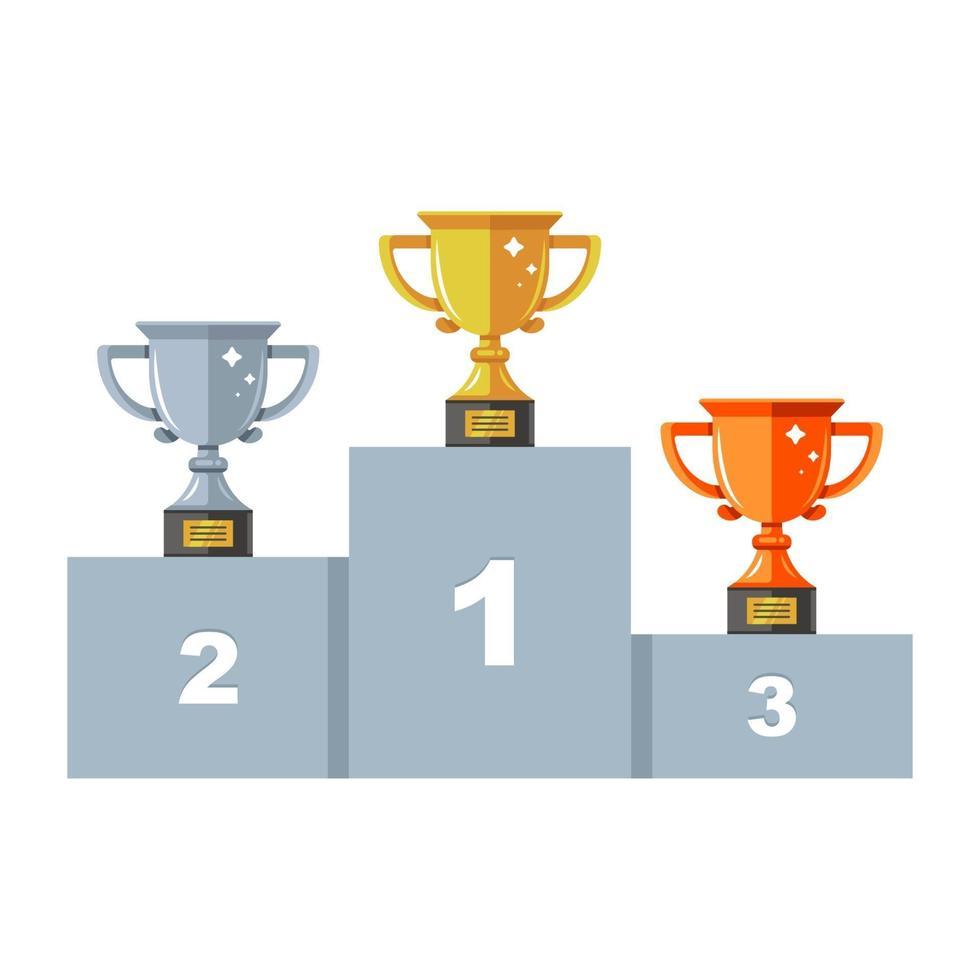 pedestal con tres tazas. oro, plata y bronce. ceremonia de premiación. ilustración plana con viento. vector