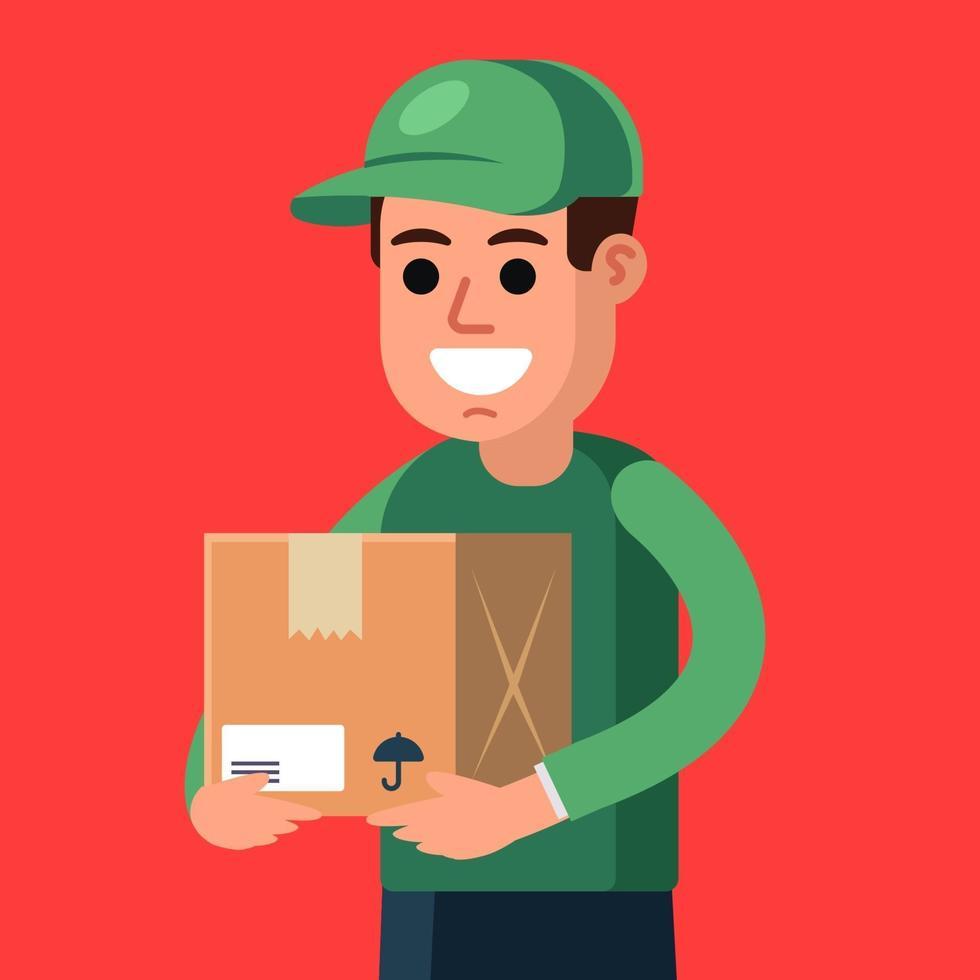 mensajero con un paquete en sus manos. entrega de carga. Ilustración de vector de personaje plano.