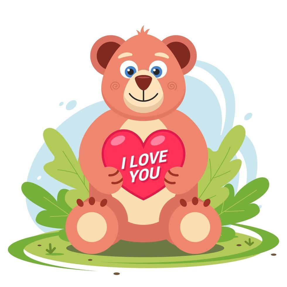 un oso de peluche con un corazón en sus patas está sentado en un claro en la hierba. Ilustración de vector de personaje plano.