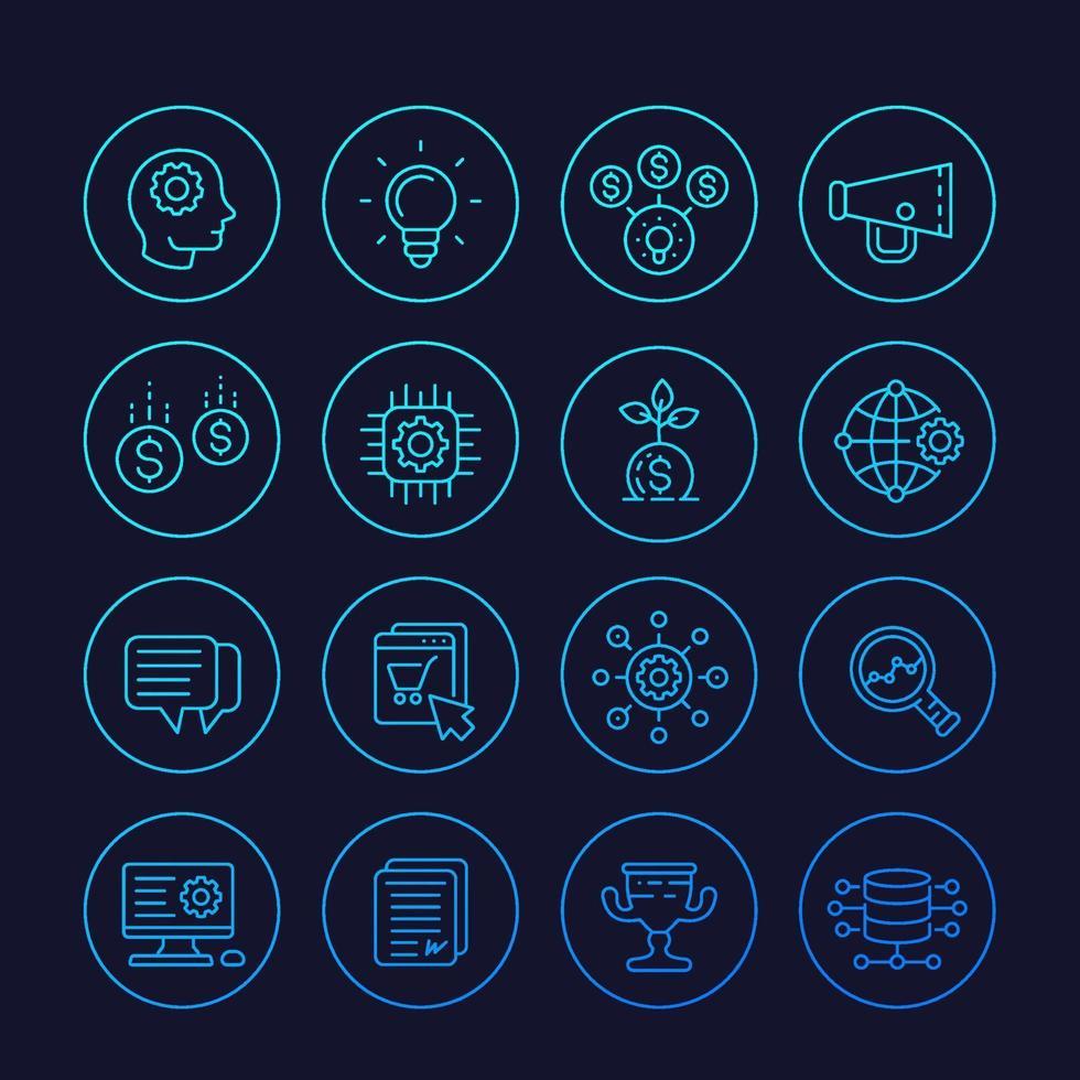 Iconos de inicio, proceso creativo, idea, capital inicial, comercio electrónico, vector de línea.eps