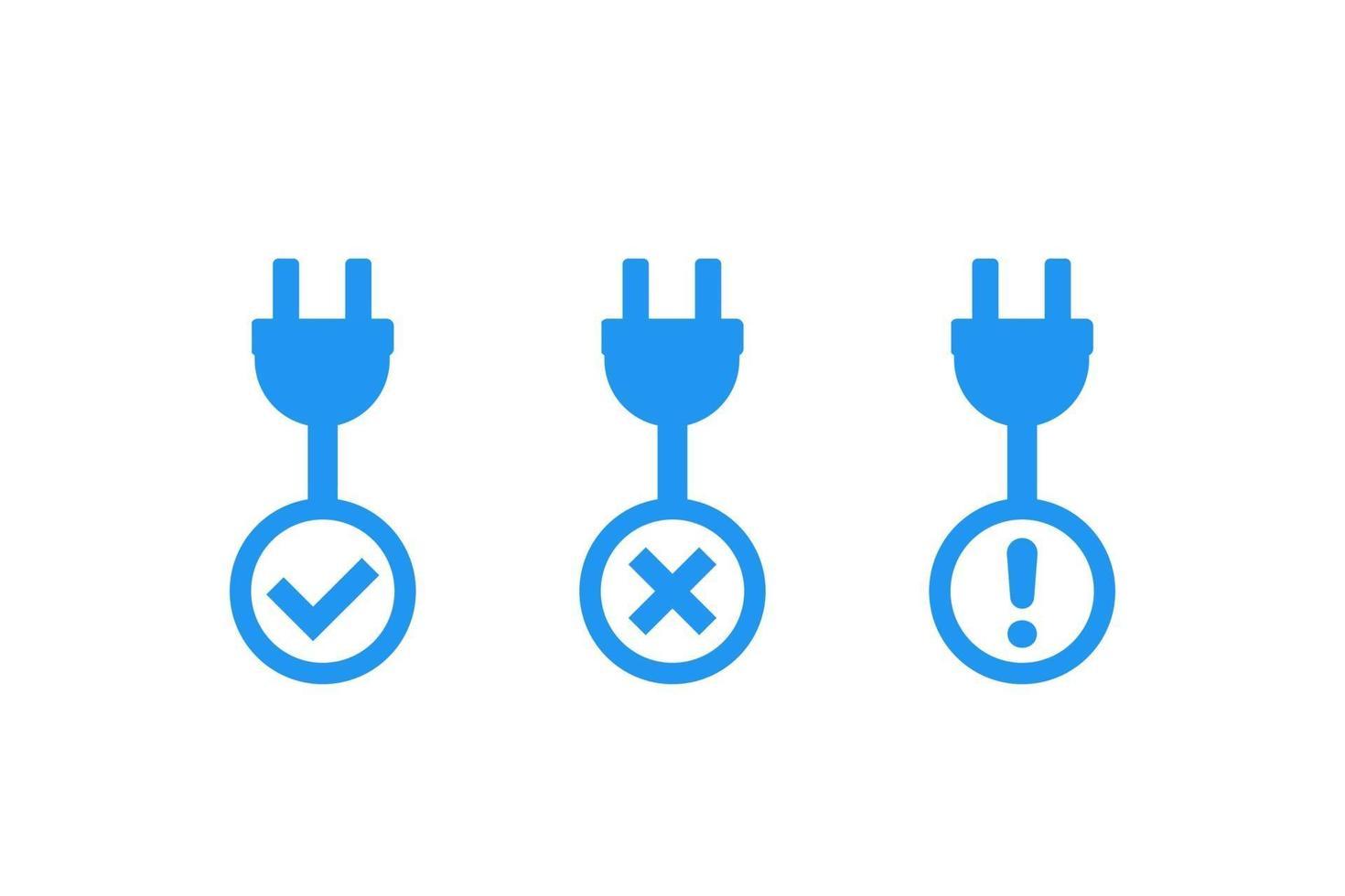 Enchufes eléctricos con signos, iconos vectoriales.eps vector