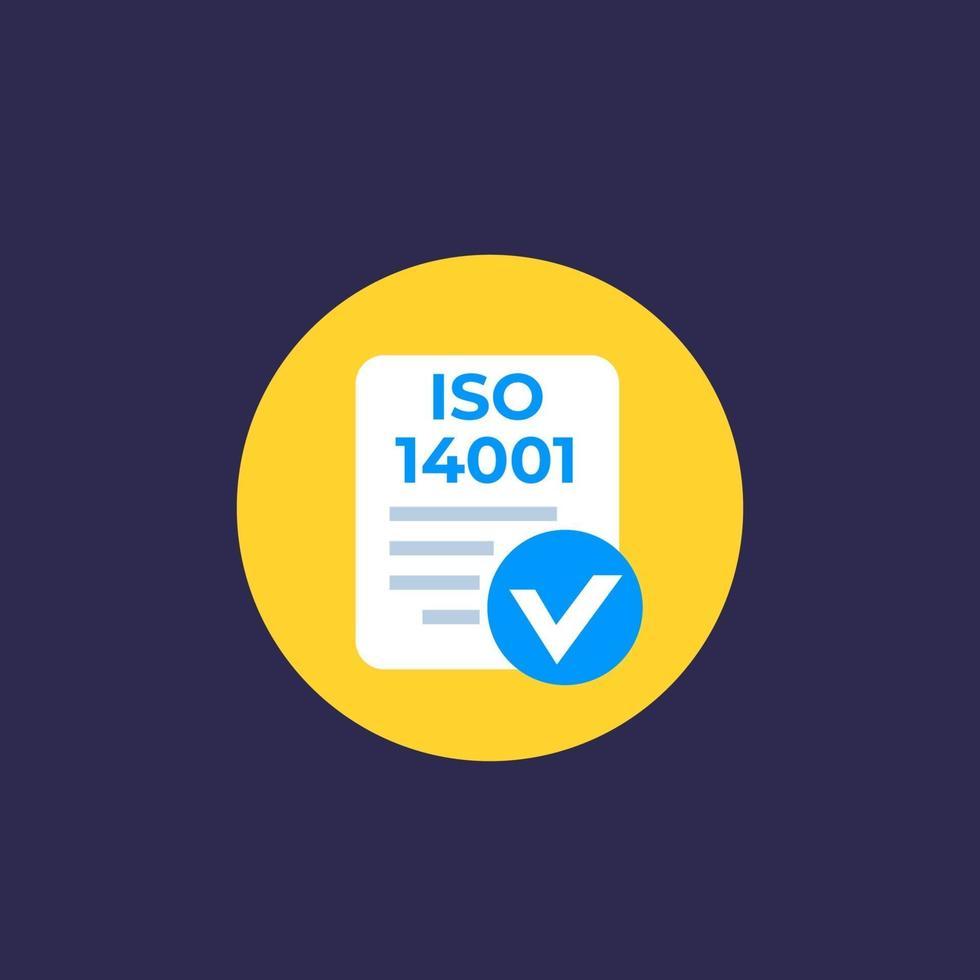 iso 14001 icono, plano vector.eps vector