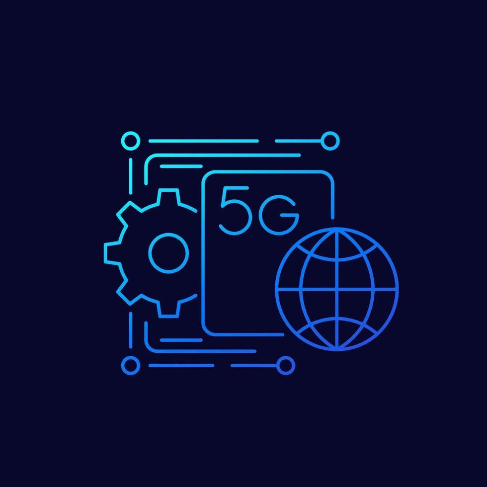 Icono de vector de red 5g, linear.eps