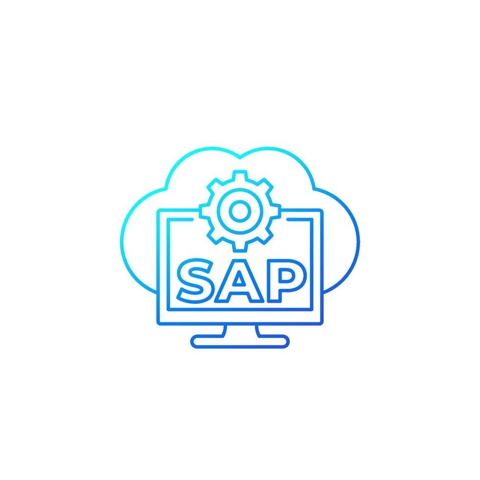 SAP, software de nube empresarial línea vector icon.eps