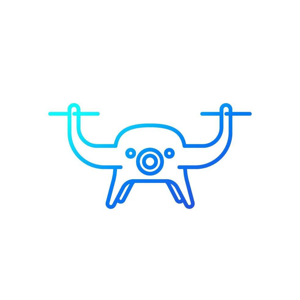 icono de drone en blanco, linear.eps vector