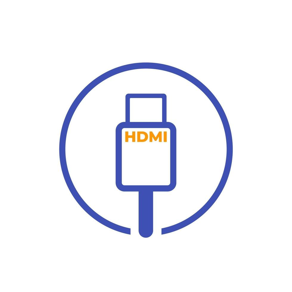 HDMI cable vector icon on white.eps