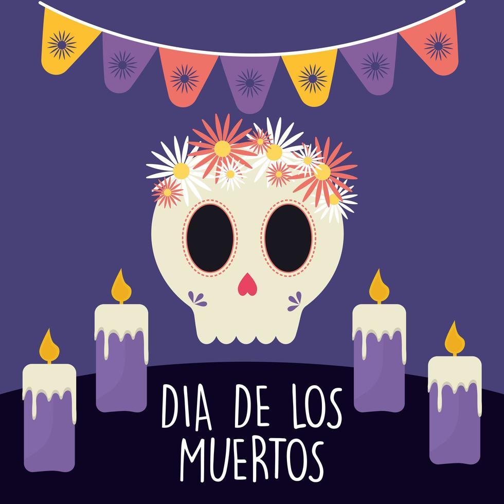 Día mexicano de la calavera muerta con flores y velas diseño vectorial vector