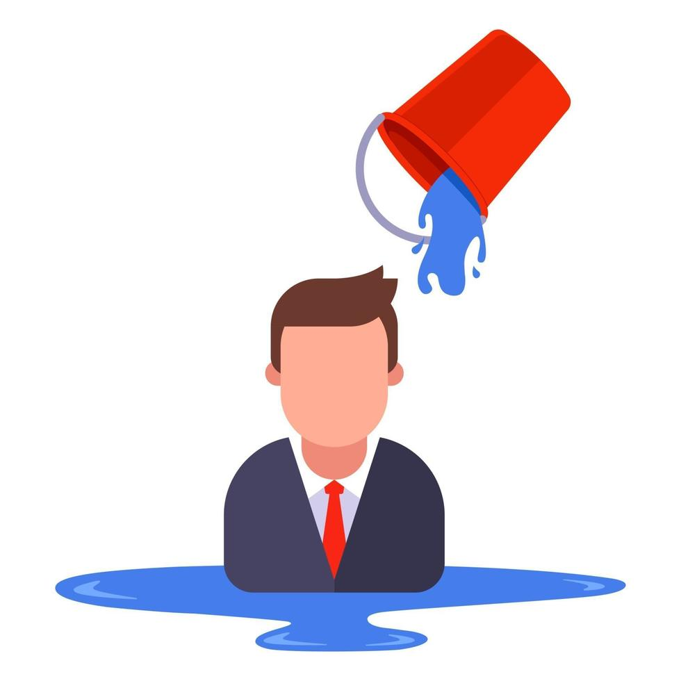 a man in a business suit is poured with water from a bucket. flat vector illustration isolated on white background.