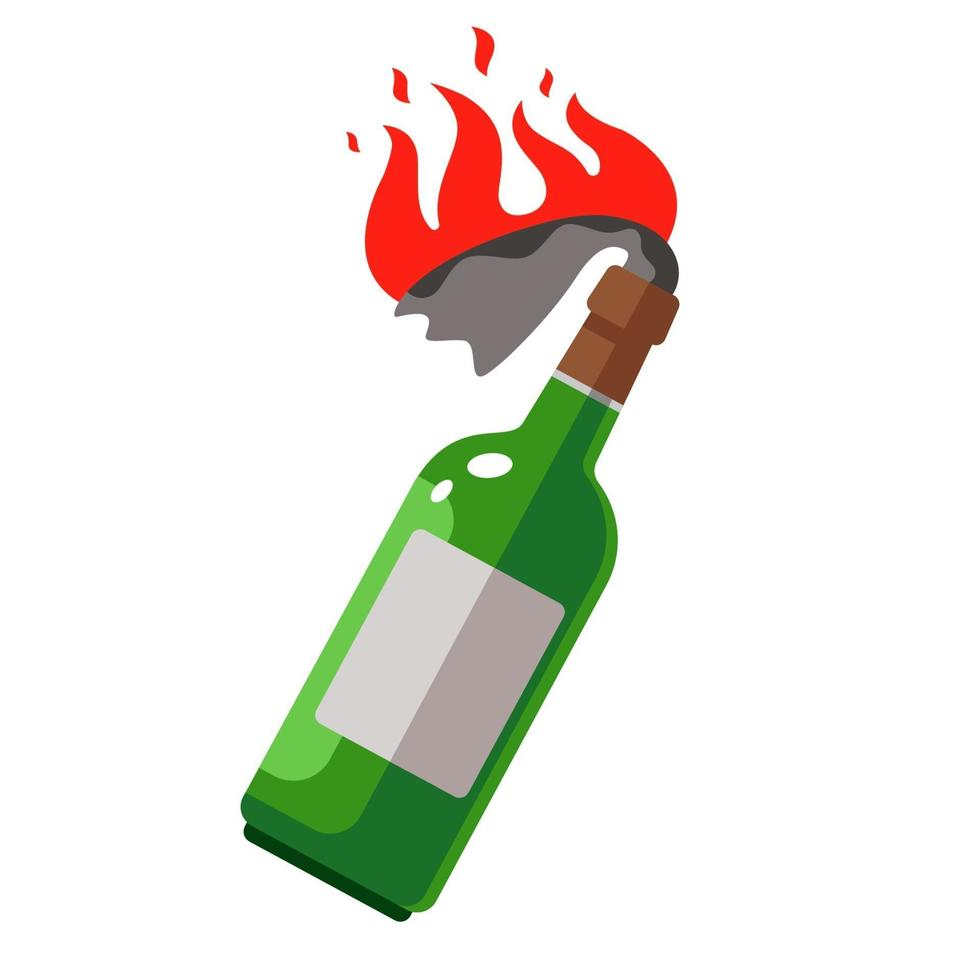 Molotov cocktail with a burning rag. weapons for protests. flat vector illustration.
