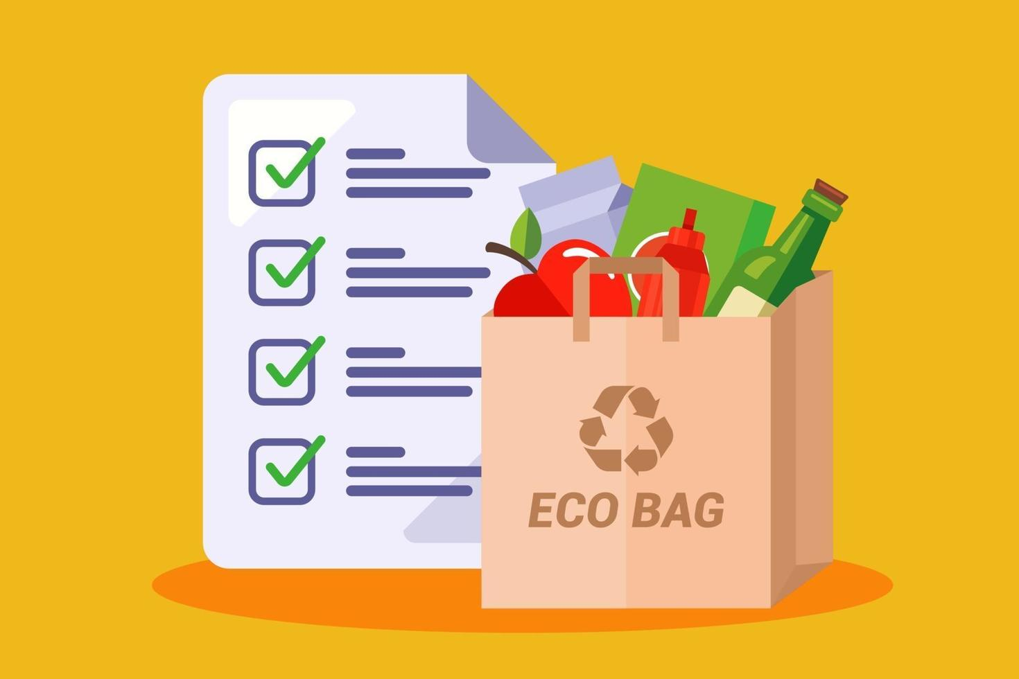 paper bag with groceries. shopping list in the store. flat vector illustration