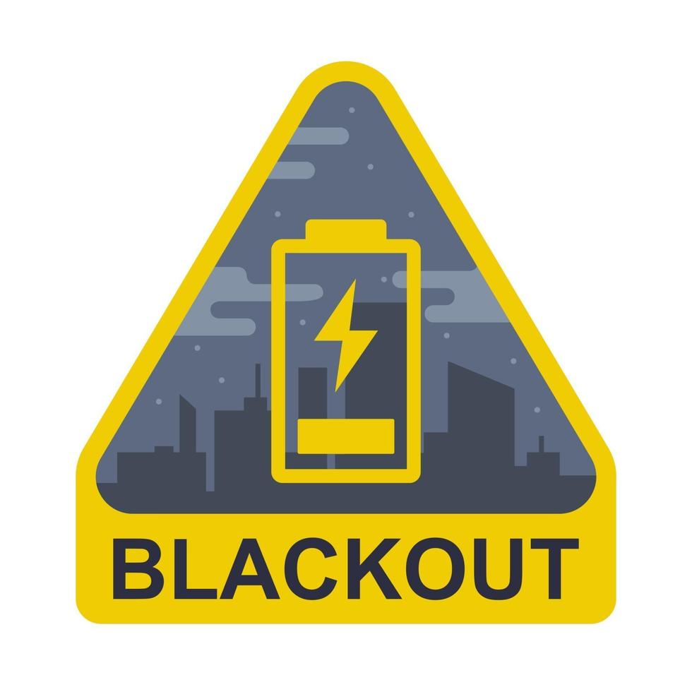 blackout sign on a city background. The battery is low. flat vector illustration.