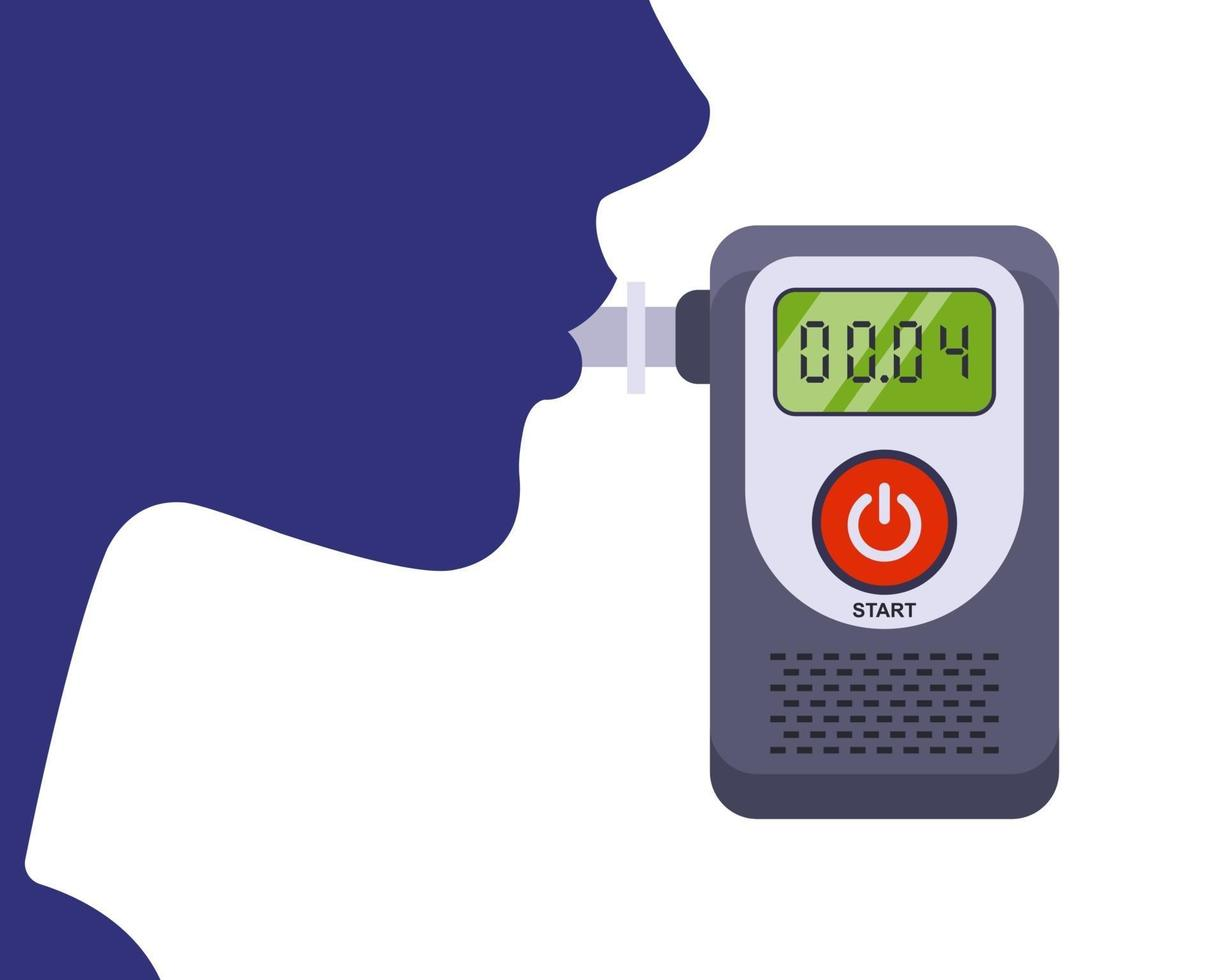 the driver exhales into the breathalyzer. testing a person for alcohol intoxication. flat vector illustration.