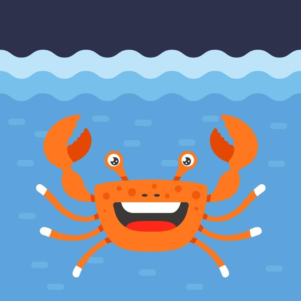 cangrejo naranja alegre bajo el agua del mar. Ilustración de vector de personaje plano