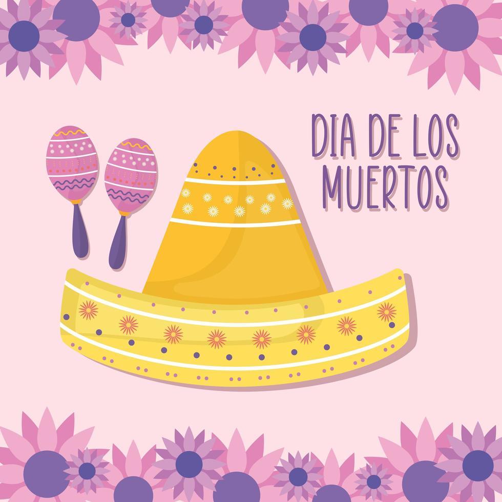 Día mexicano de los muertos maracas y sombrero sombrero con diseño vectorial de flores vector