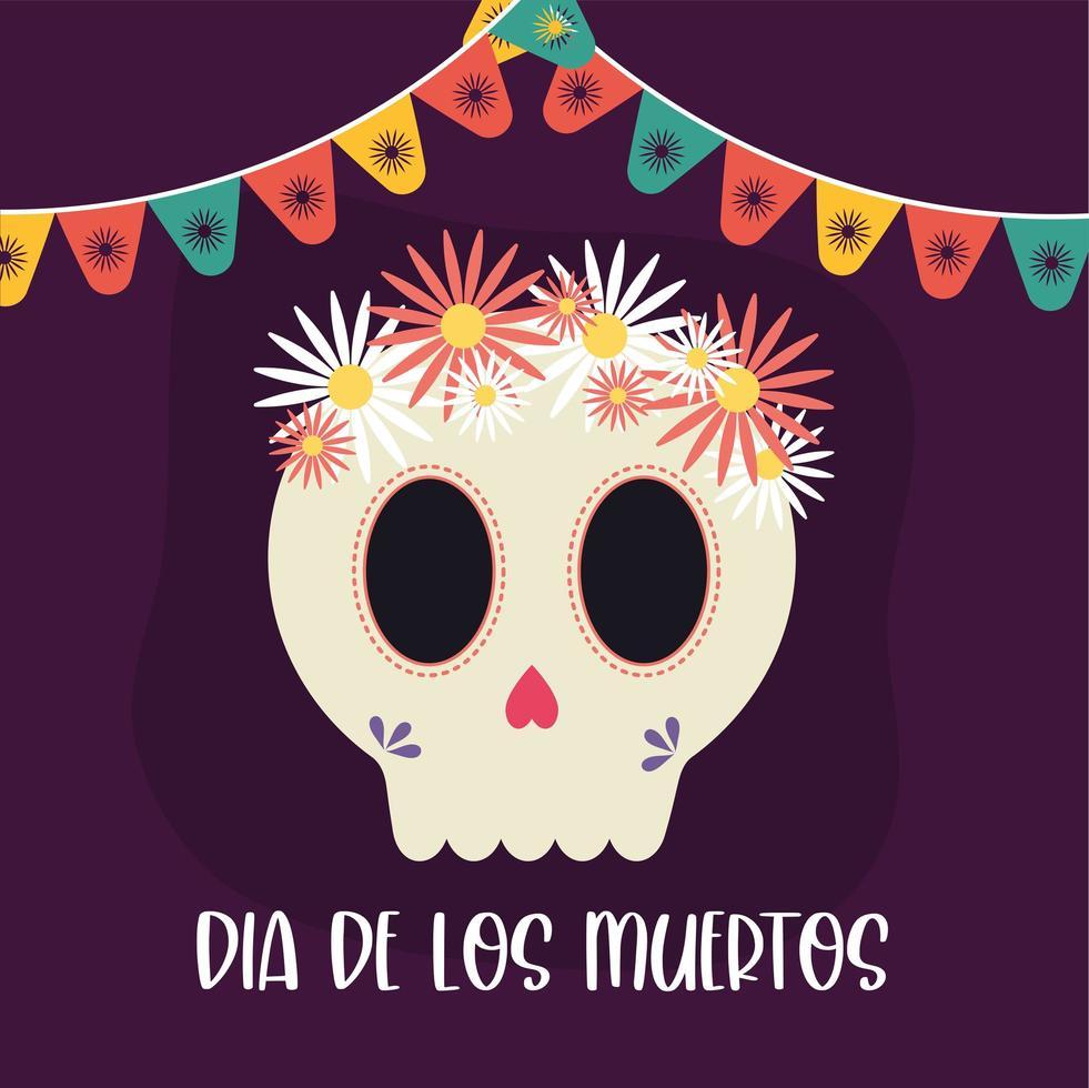 día mexicano de los muertos calavera con flores diseño vectorial vector