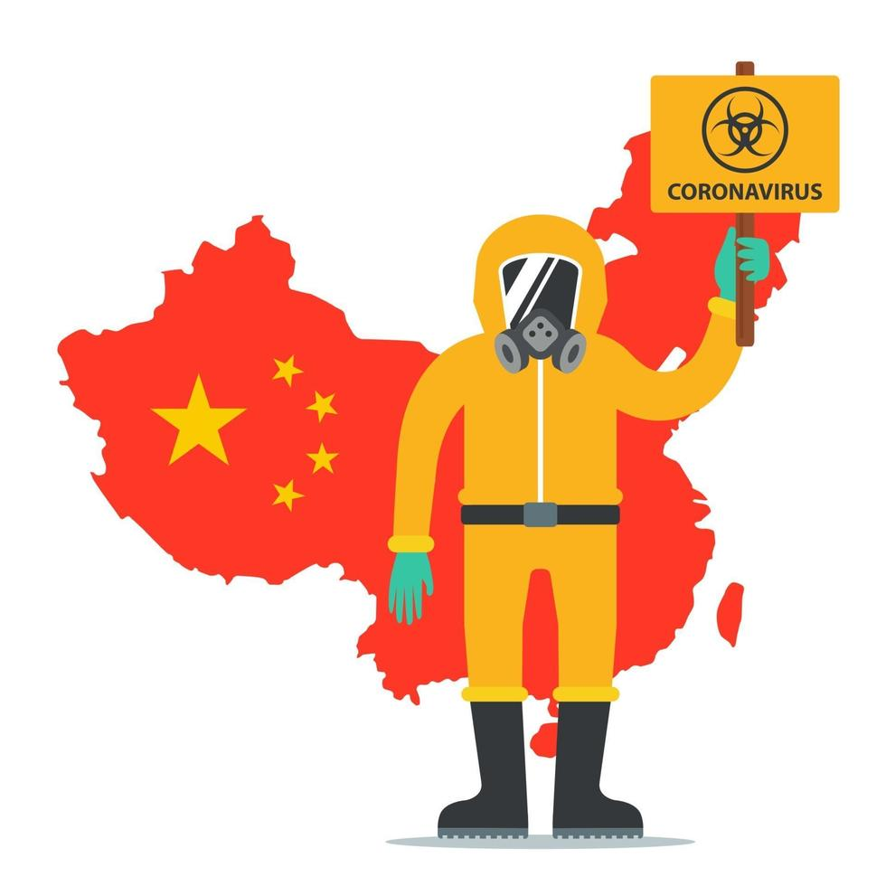 a man in a protective suit holds a sign with the coronavirus icon. epidemic in china. Flat character vector illustration.