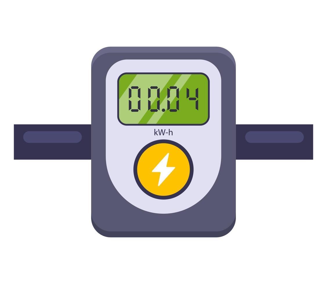 Dispositivo para medir el consumo de electricidad. Ilustración de vector plano aislado sobre fondo blanco.