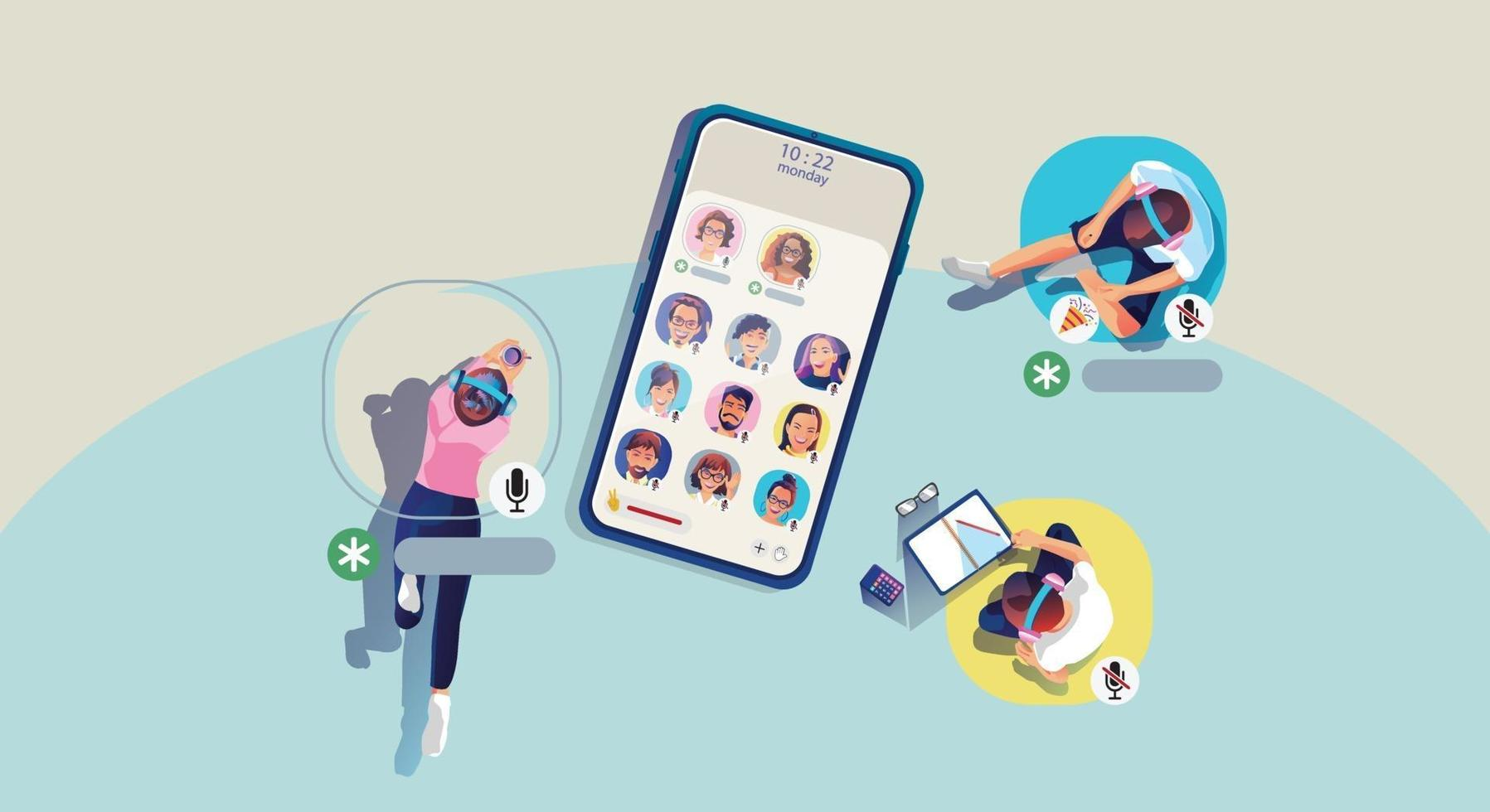 People use headphones to listen to smartphone, screen shows status of people using social networking applications, learning or meeting online vector