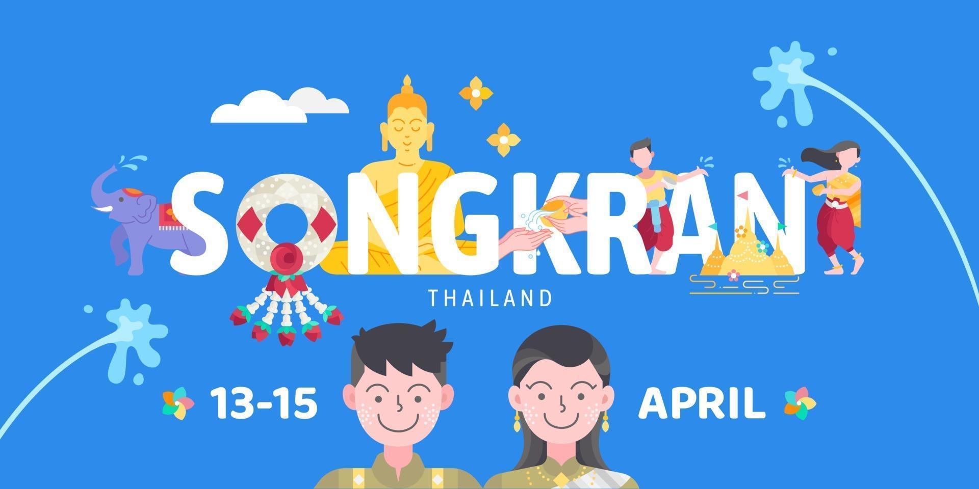 Songkran Thailand water splashing festival celebration vector illustration