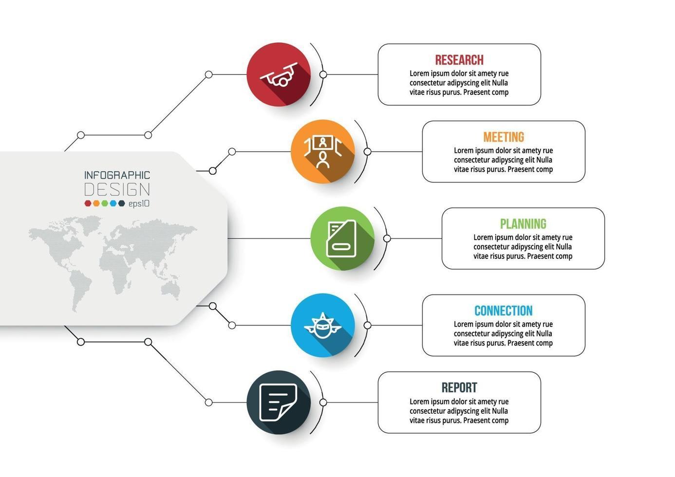 plataforma de negocios planificación de procesos de trabajo realización de medios publicitarios, marketing, presentación de trabajos diversos. diseño de infografía vectorial. vector