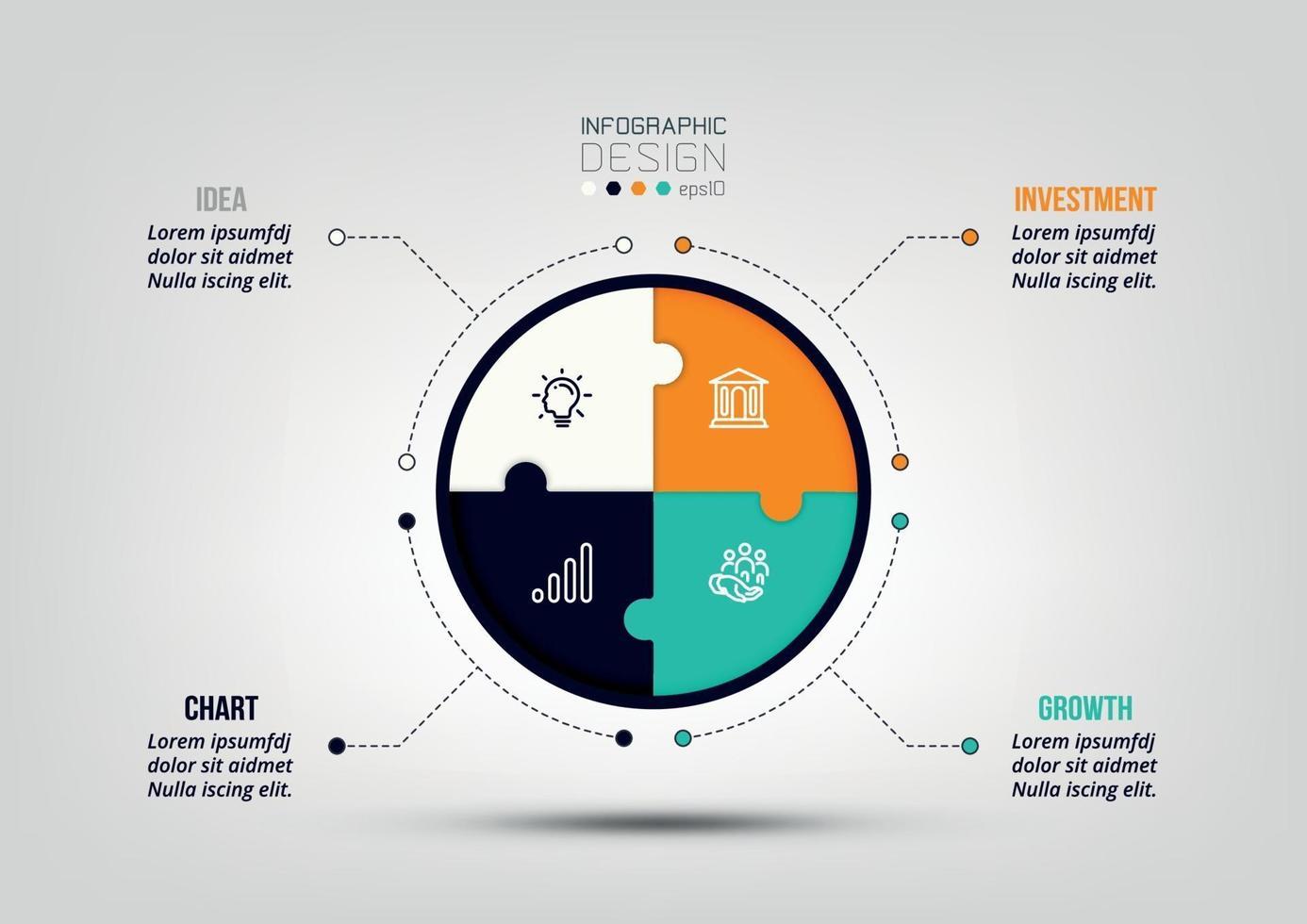 Plantilla de infografía de diagrama de negocios o marketing. vector