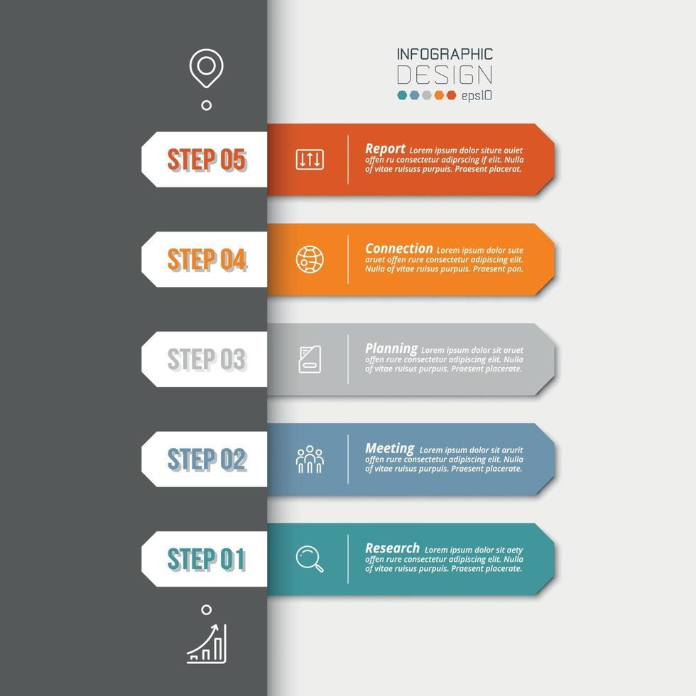 Infografía de línea de tiempo con paso u opción. vector