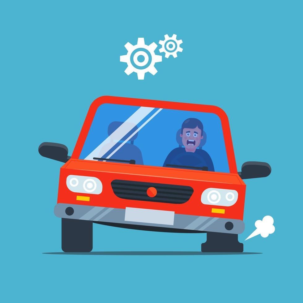 car tilting on a popped tire. upset driver. flat vector illustration.