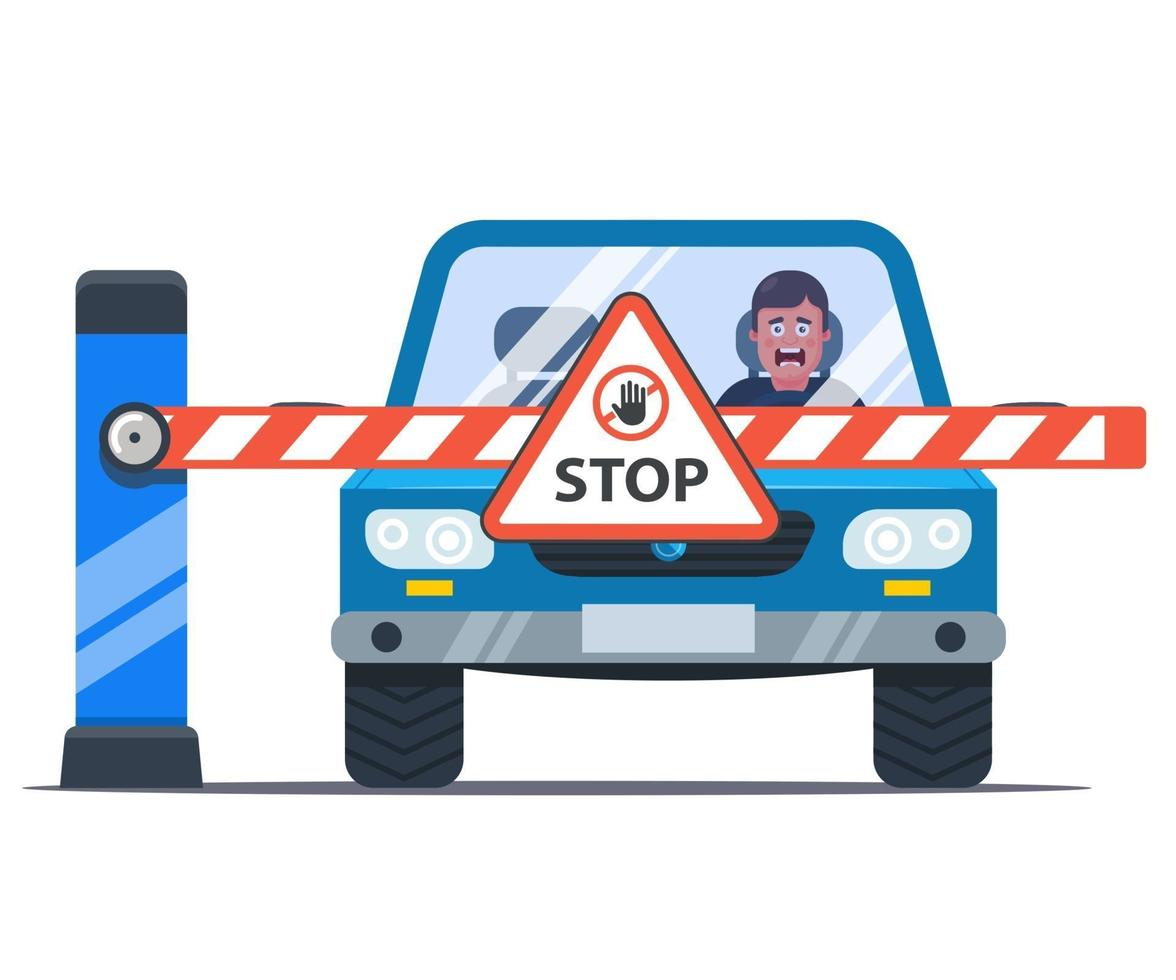 a barrier blocks the way to the car. upset driver. stop sign. flat vector illustration.