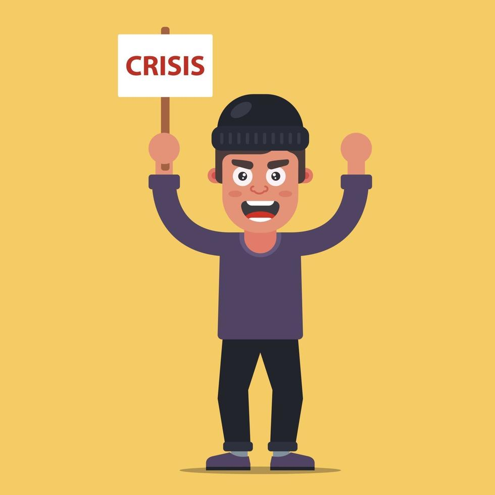 hombre protesta con un cartel con la inscripción crisis. Ilustración de vector de personaje plano.