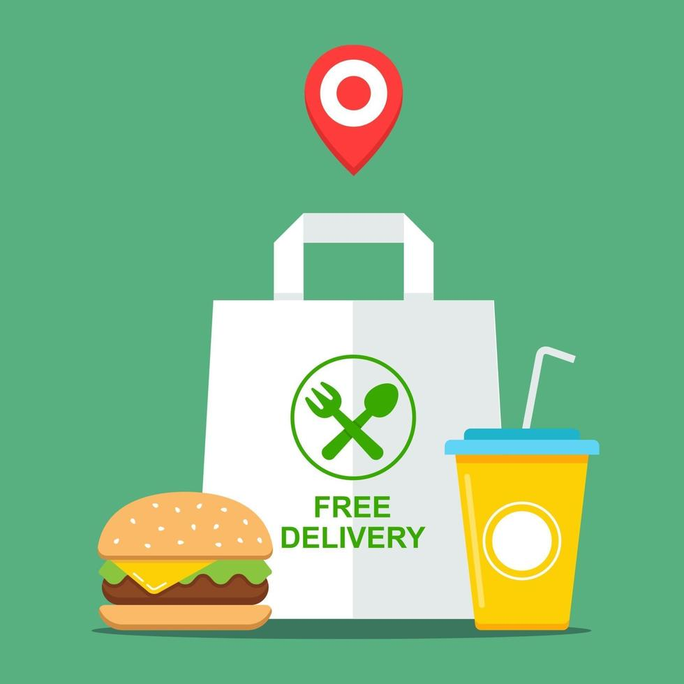 buy takeaway fast food. food delivery free. flat vector illustration