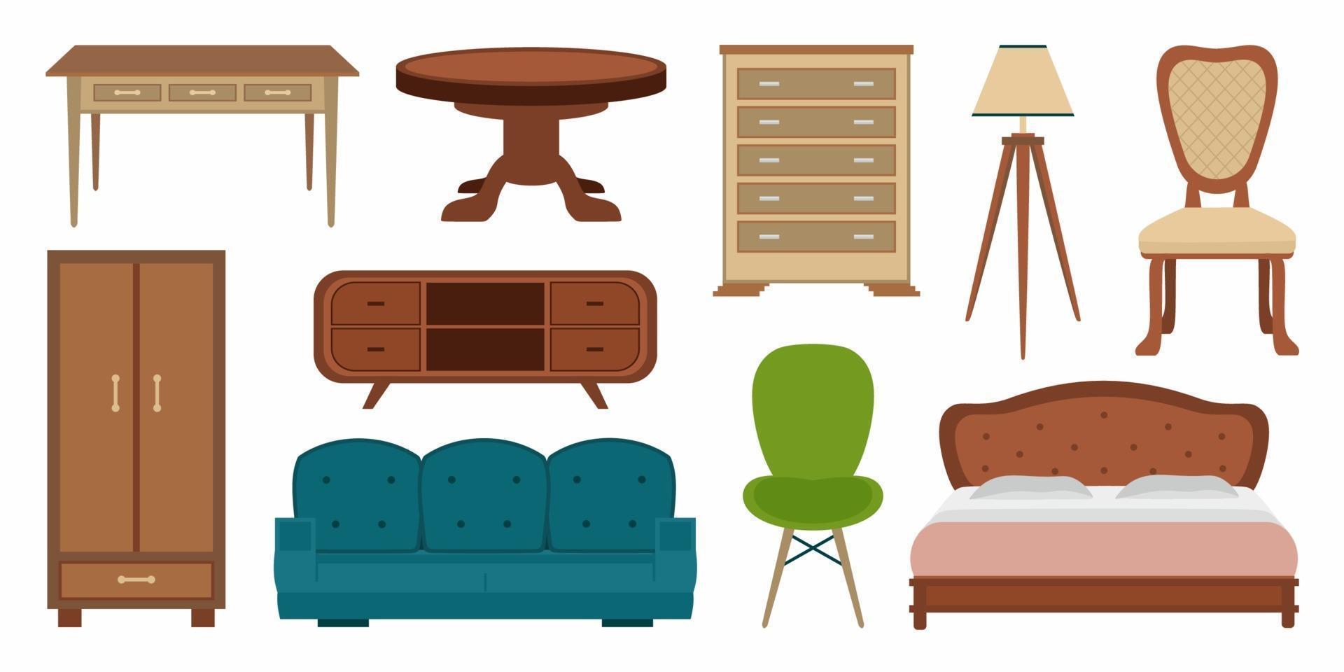 muebles cómodos de estilo vintage y decoraciones modernas para el hogar se combinan en un moderno estilo de dibujos animados. colecciones de elementos de vector plano de diseño de interiores aislados en un fondo blanco. ilustración vectorial