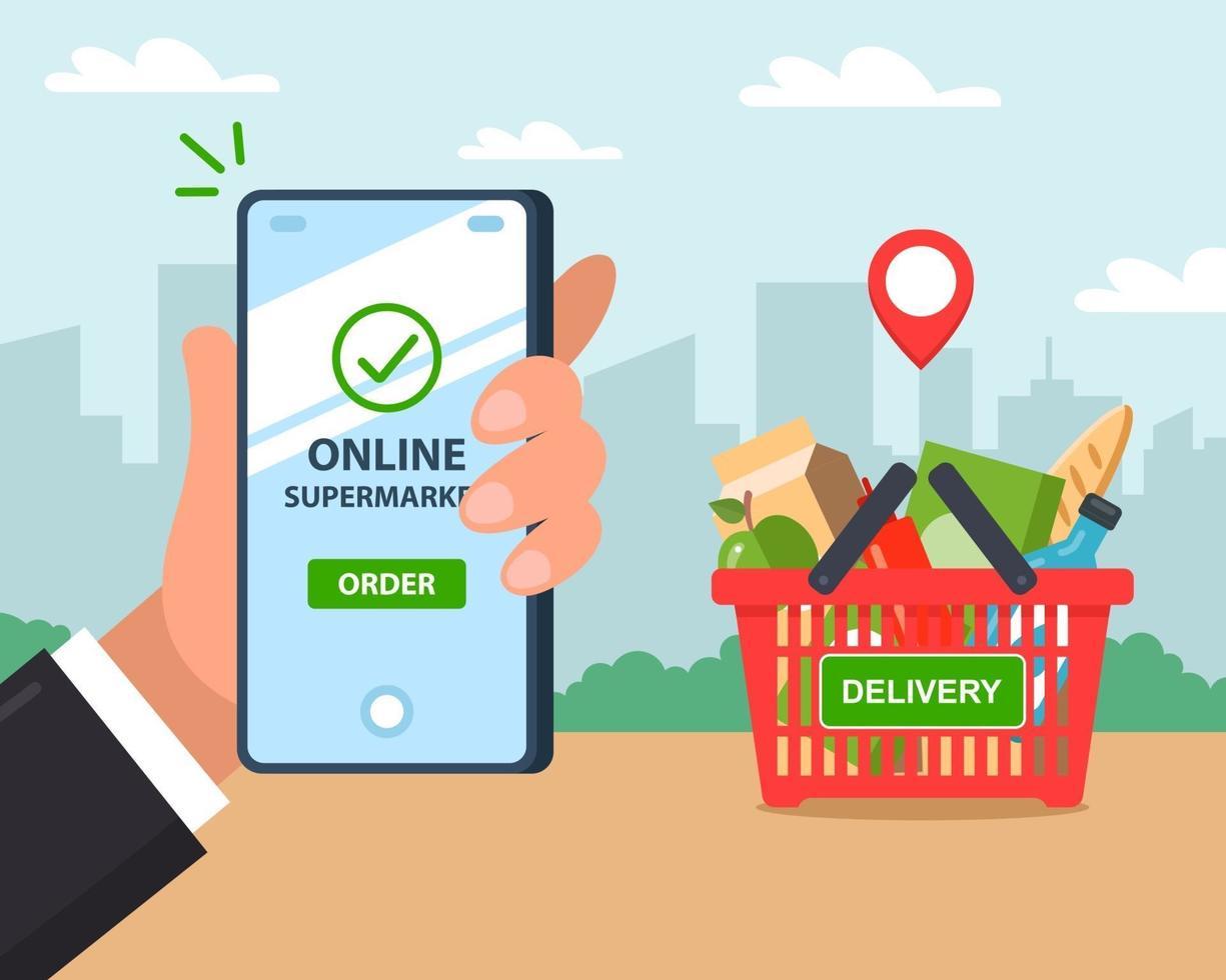 online product delivery. order via phone. flat vector illustration.