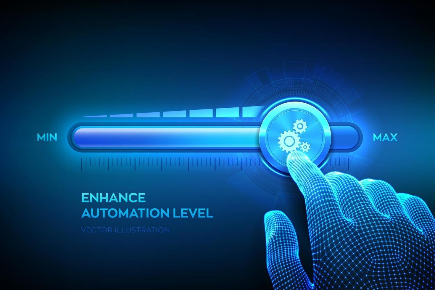 Increasing automation level. RPA Robotic process automation innovation technology concept. Wireframe hand is pulling up to the maximum position progress bar with the gears icon. vector