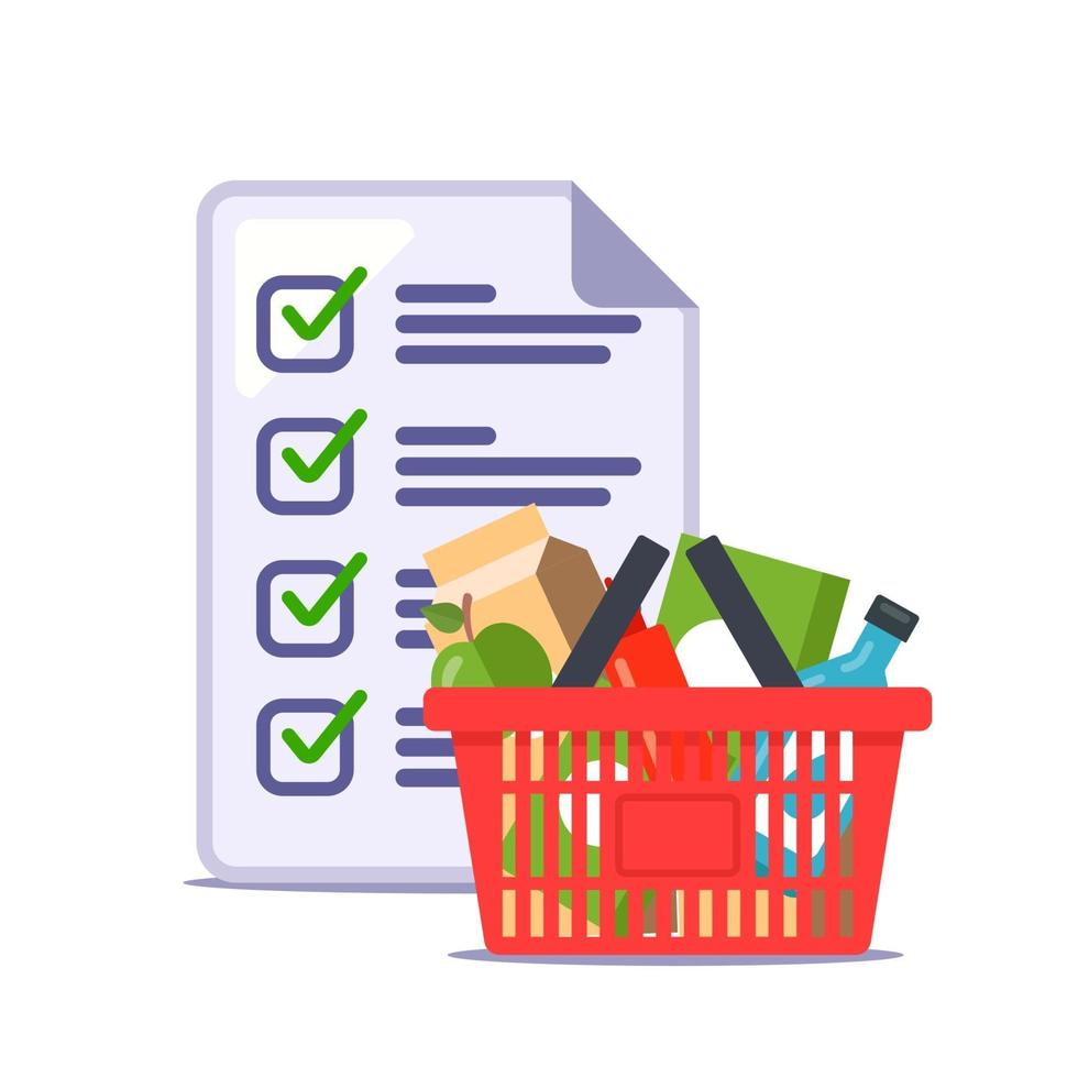 man made a grocery list for the store. recipe. flat vector illustration