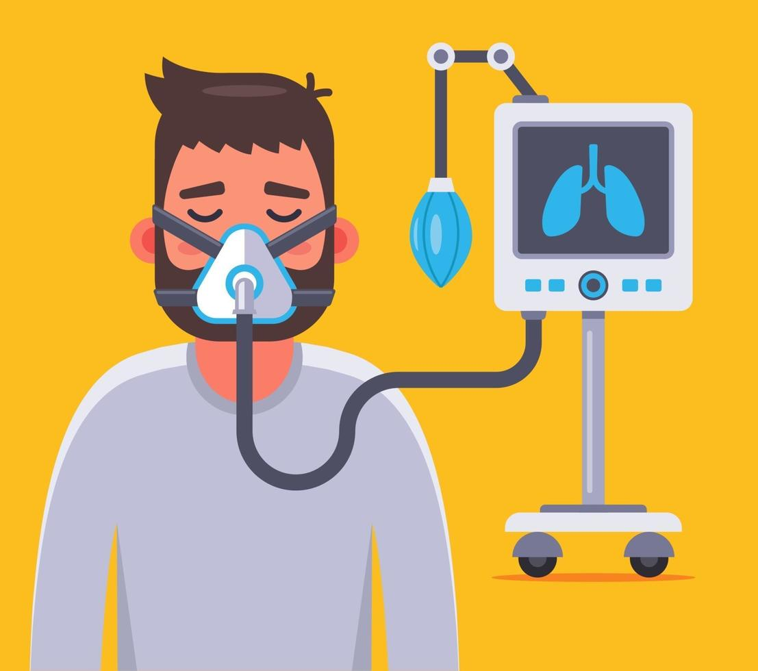 ventilation of the lungs of a person sick with coronavirus. Flat character vector illustration.